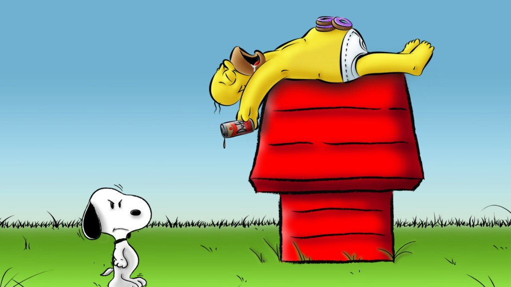 Homer sleeping on Snoopy's doghouse