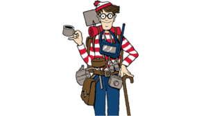 Where's Waldo character with Backpacking gear